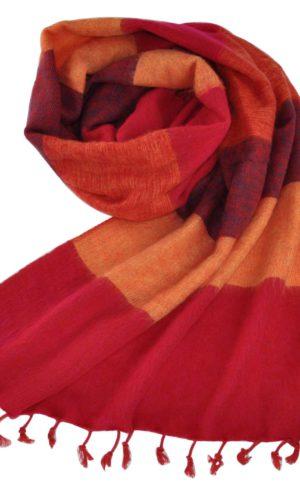 Nepal Tucher gelb, rot gestreift aus yakwolle