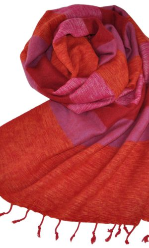 Nepal Schal Orange Rosa | fair-trade | Online Kaufen | Shawls4you.de