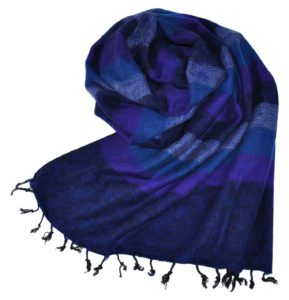 Nepal Schal Dunkelblau Gestreift | fair-trade | Online | www.Shawls4you.de