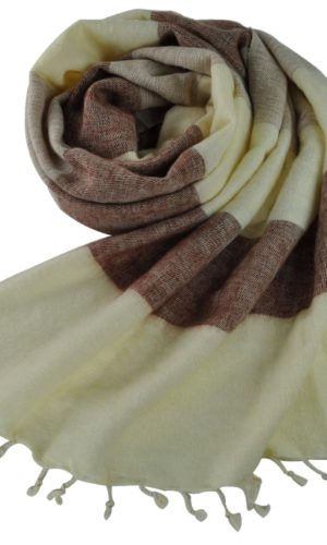 Nepal Schal Crème Braun Gestreift | fair-trade | www.Shawls4you.de