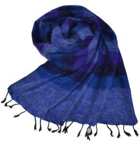 Nepal Schal Jeansblau Gestreift | fair-trade | Online Kaufen|Shawls4you.de