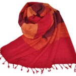 Nepal Schal Rot Orange Gestreift | fair-trade | www.Shawls4you.de