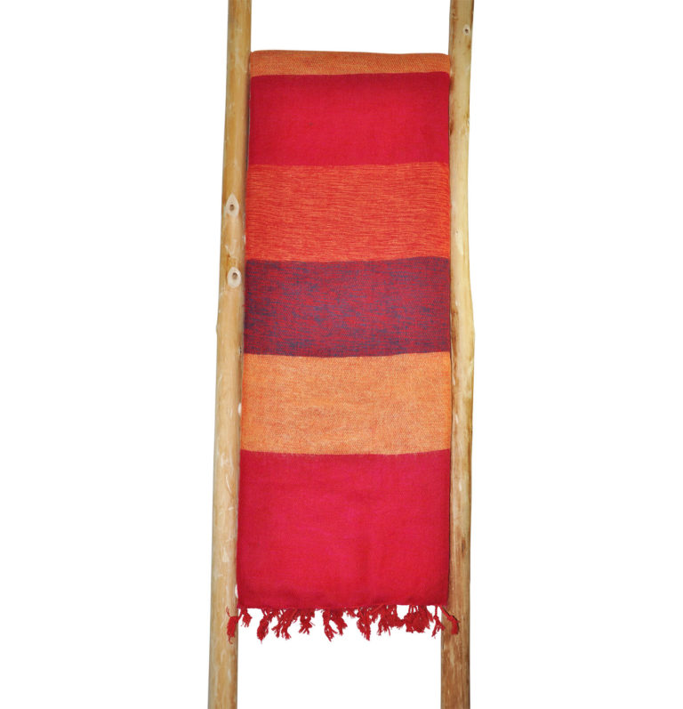 Tibet Plaid Rot Striped- online kaufen – Shawls4you.de
