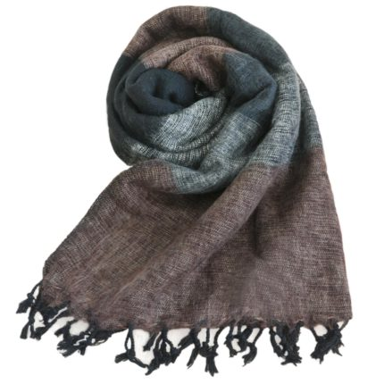 Nepal Tücher Schwarz-Grau-Braun- online kaufen -Shawls4you