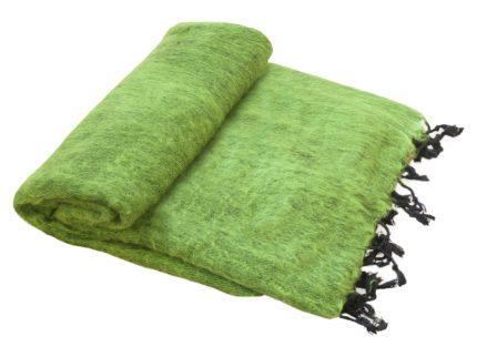Nepal Decke Grasgrün aus yakwolle – Online Kaufen – Shawls4you.de