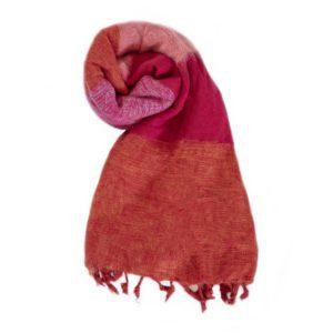 Nepal Schal Orange Rot Rose Cyclamen aus yakwolle - Online Kaufen - Shawls4you.nl