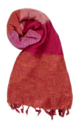 Nepal Schal Orange Rot Rose Cyclamen aus yakwolle - Online Kaufen - Shawls4you.nl