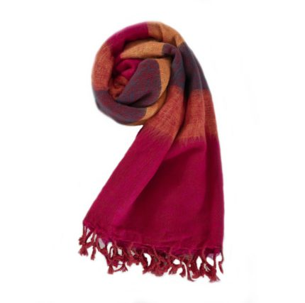 Nepal Schal Cyclamen Orange  aus yakwolle – Online Kaufen – Shawls4you.nl